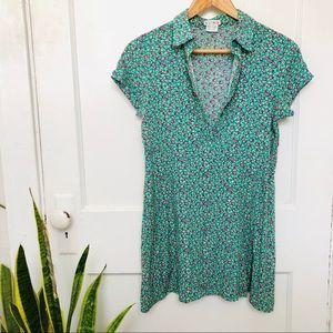 Green flowered mini dress